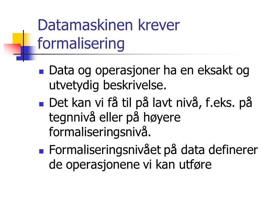 Datamaskinen krever formalisering  Data og operasjoner ha en eksakt og utvetydig beskrivelse.