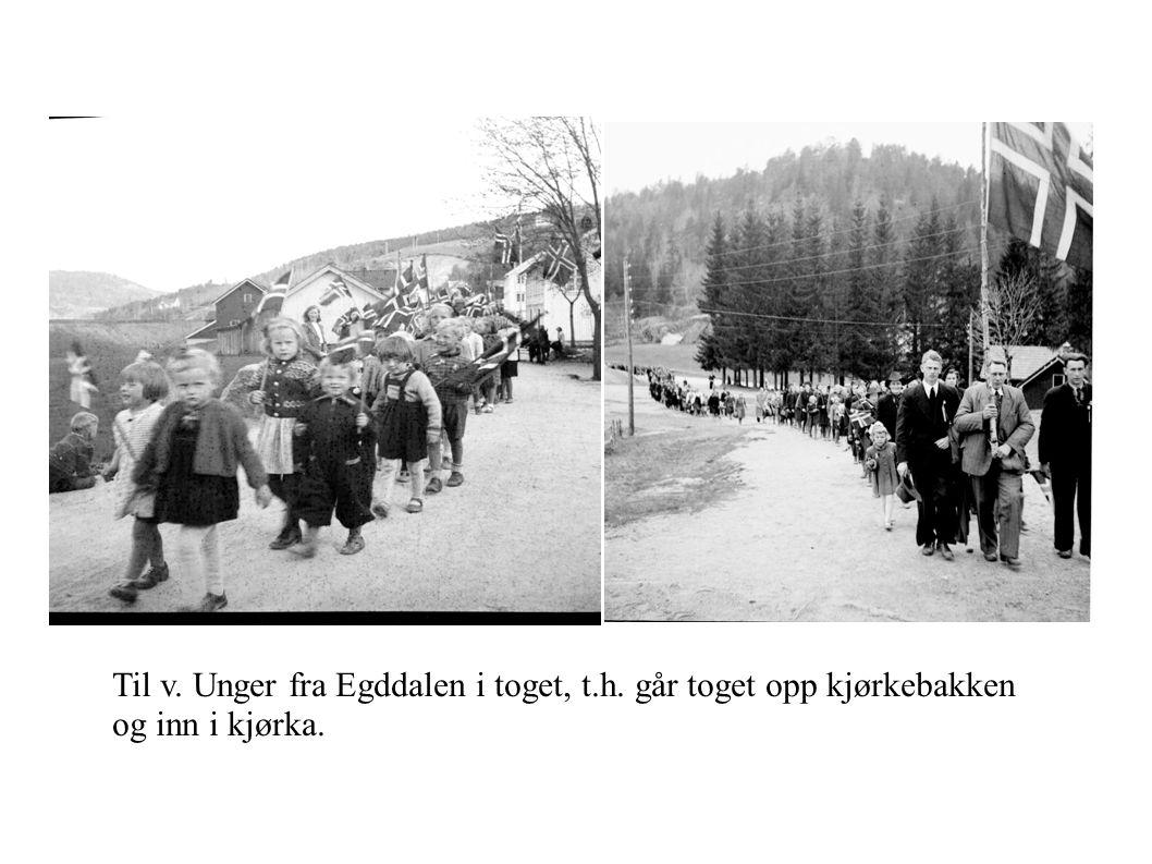 Til v. Unger fra Egddalen i toget, t.h. går toget opp kjørkebakken og inn i kjørka.