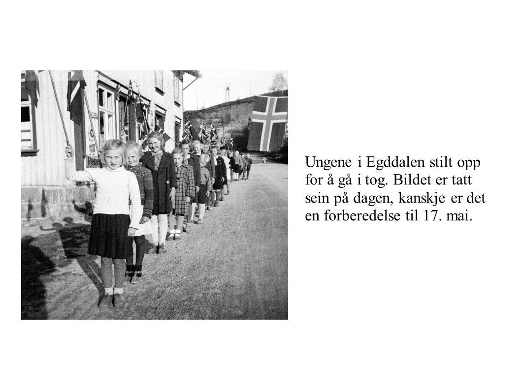 Ungene i Egddalen stilt opp for å gå i tog. Bildet er tatt sein på dagen, kanskje er det en forberedelse til 17. mai.