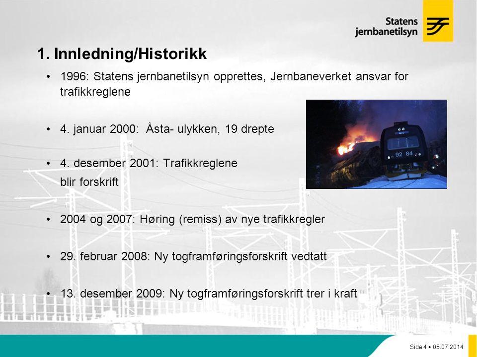 Side 4  05.07.2014 1. Innledning/Historikk •1996: Statens jernbanetilsyn opprettes, Jernbaneverket ansvar for trafikkreglene •4. januar 2000: Åsta- u