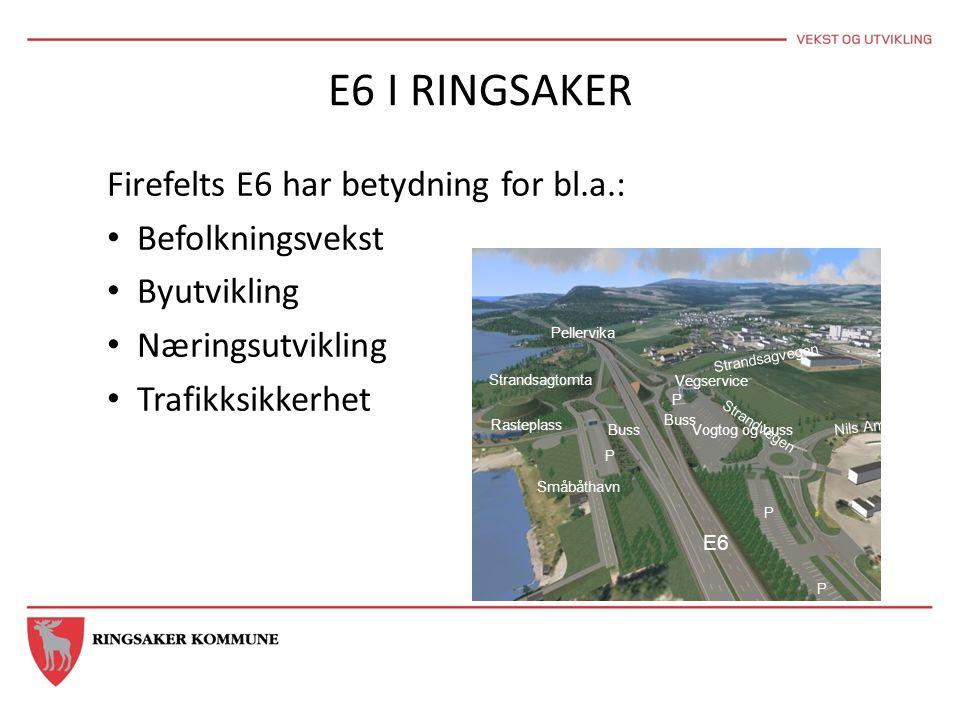 E6 I RINGSAKER Firefelts E6 har betydning for bl.a.: • Befolkningsvekst • Byutvikling • Næringsutvikling • Trafikksikkerhet Vegservice Vogtog og buss
