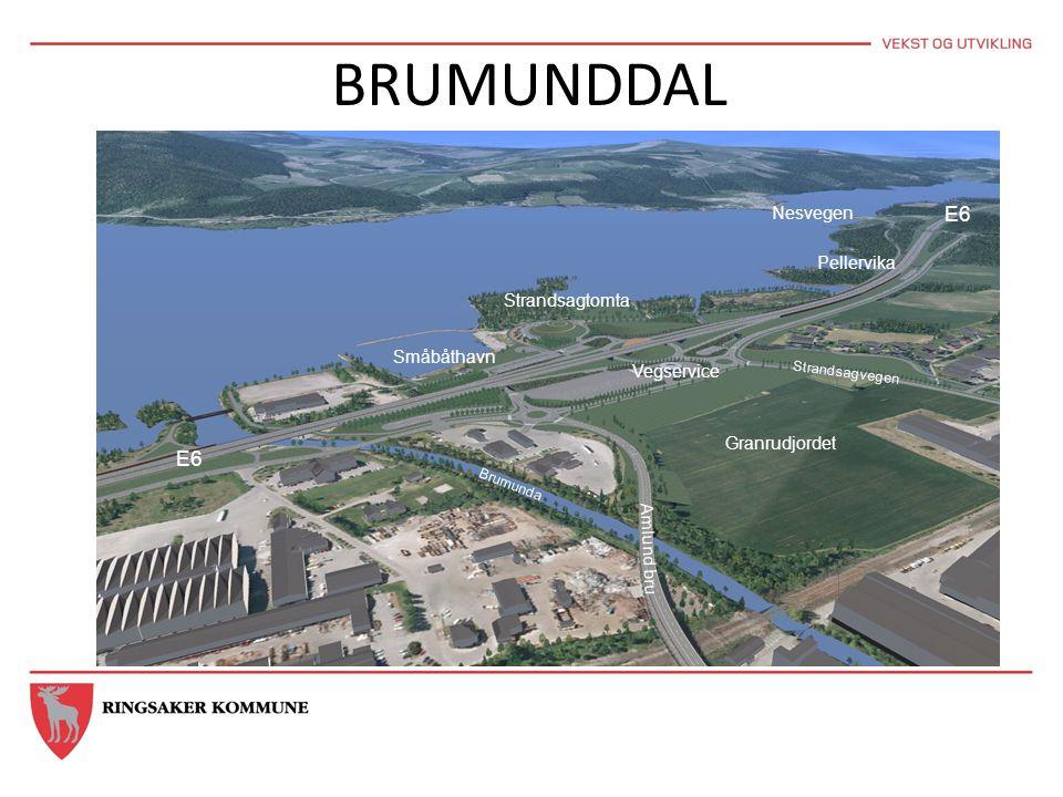 BRUMUNDDAL E6 Strandsagtomta Småbåthavn Vegservice Amlund bru Granrudjordet Pellervika Nesvegen E6 Brumunda Strandsagvegen