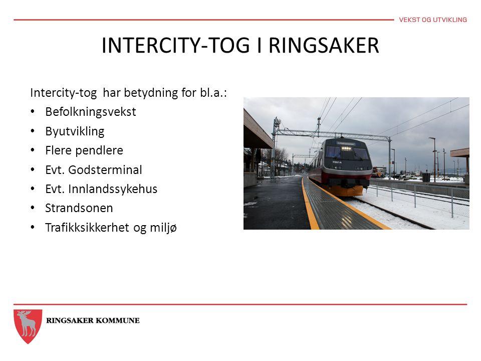 INTERCITY-TOG I RINGSAKER Intercity-tog har betydning for bl.a.: • Befolkningsvekst • Byutvikling • Flere pendlere • Evt. Godsterminal • Evt. Innlands