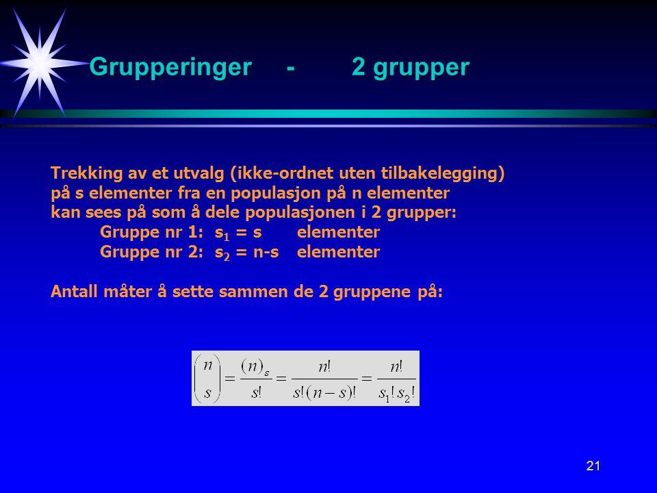 21 Grupperinger-2 grupper Trekking av et utvalg (ikke-ordnet uten tilbakelegging) på s elementer fra en populasjon på n elementer kan sees på som å dele populasjonen i 2 grupper: Gruppe nr 1: s 1 = s elementer Gruppe nr 2: s 2 = n-selementer Antall måter å sette sammen de 2 gruppene på: