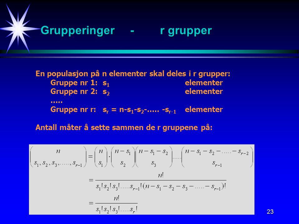 23 Grupperinger-r grupper En populasjon på n elementer skal deles i r grupper: Gruppe nr 1: s 1 elementer Gruppe nr 2:s 2 elementer …..