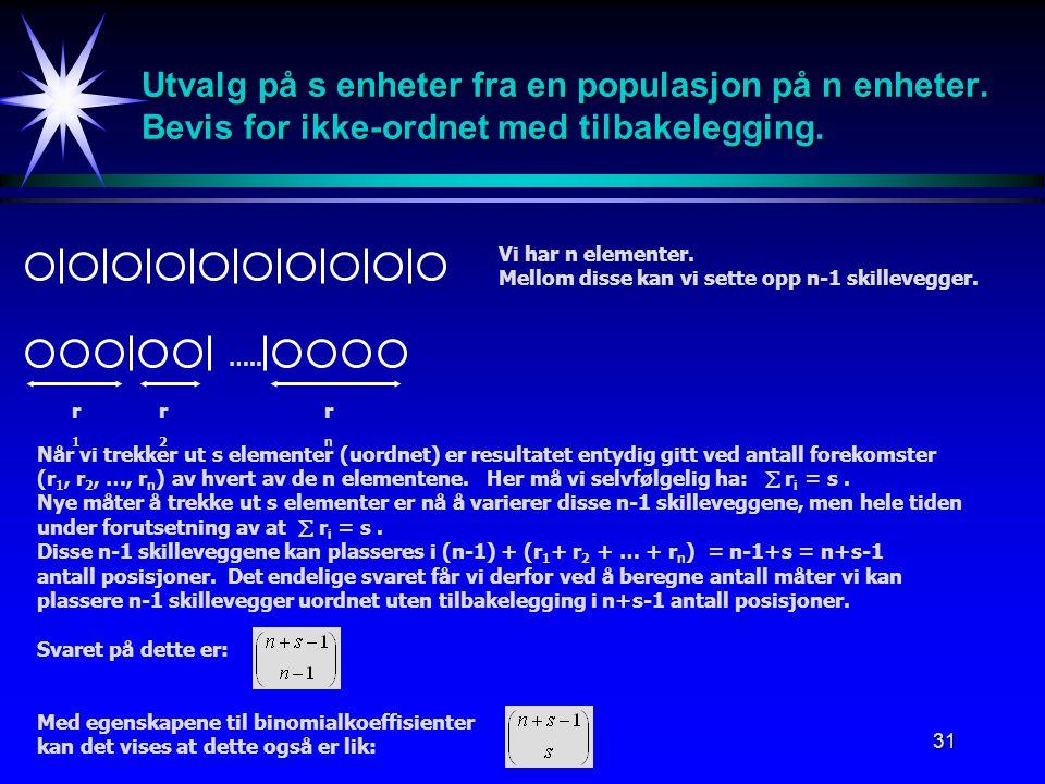 31 Utvalg på s enheter fra en populasjon på n enheter.