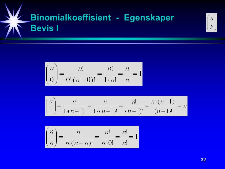 32 Binomialkoeffisient - Egenskaper Bevis I