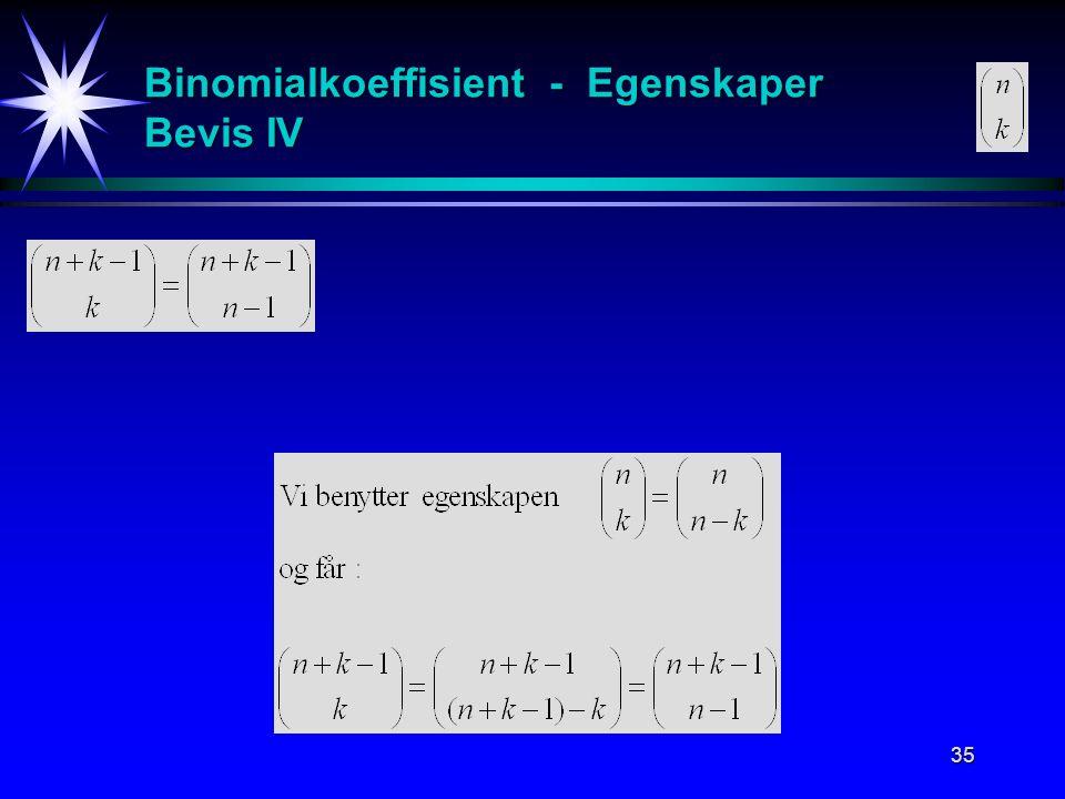 35 Binomialkoeffisient - Egenskaper Bevis IV