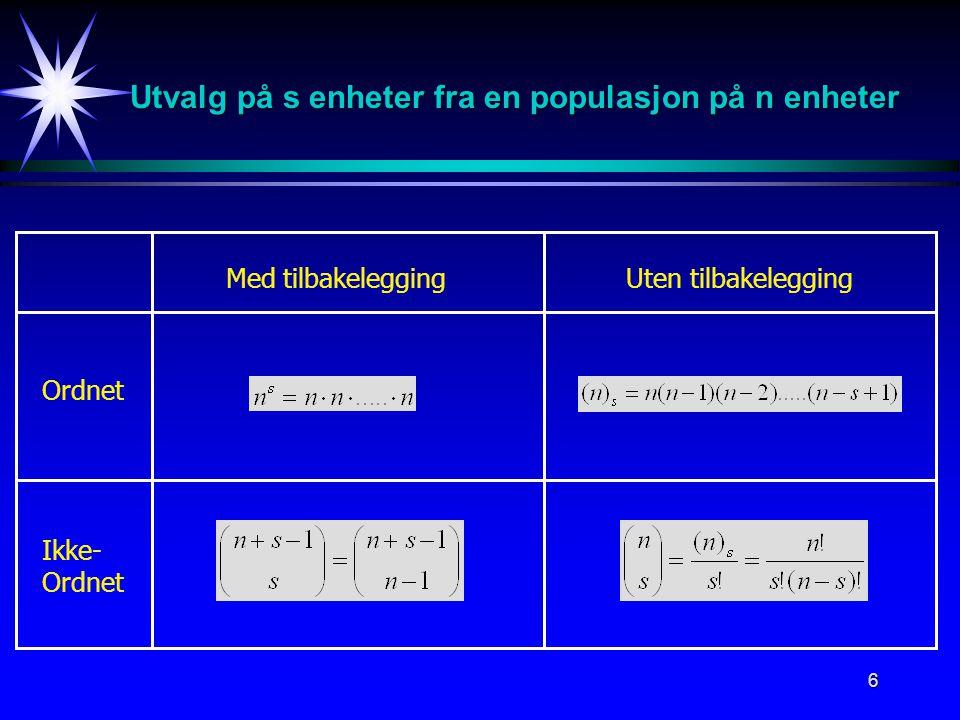 6 Utvalg på s enheter fra en populasjon på n enheter Med tilbakeleggingUten tilbakelegging Ordnet Ikke- Ordnet