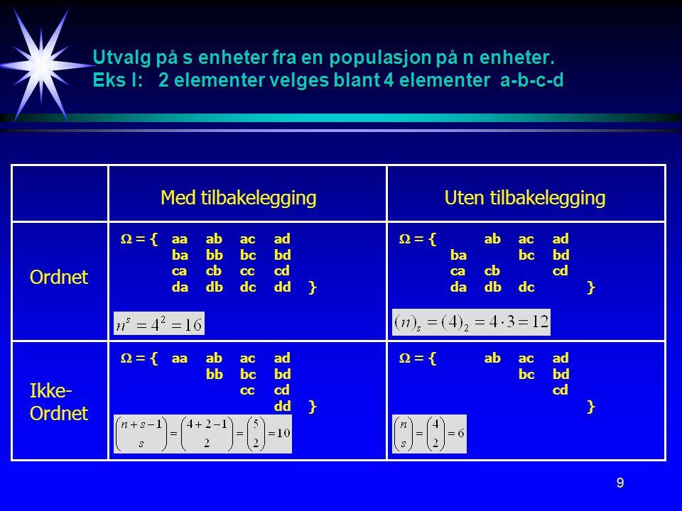 9 Utvalg på s enheter fra en populasjon på n enheter.