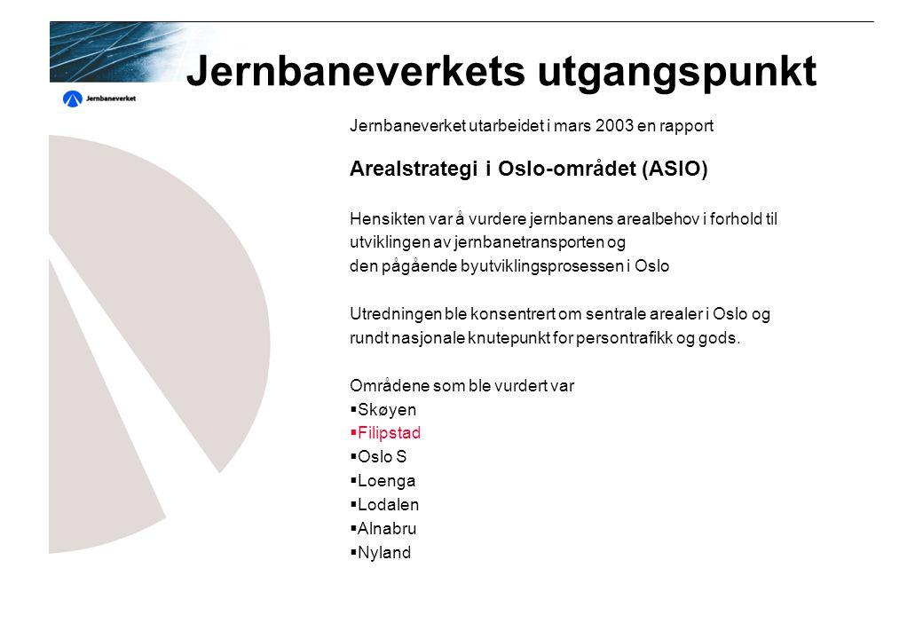 Jernbaneverkets utgangspunkt Jernbaneverket utarbeidet i mars 2003 en rapport Arealstrategi i Oslo-området (ASIO) Hensikten var å vurdere jernbanens arealbehov i forhold til utviklingen av jernbanetransporten og den pågående byutviklingsprosessen i Oslo Utredningen ble konsentrert om sentrale arealer i Oslo og rundt nasjonale knutepunkt for persontrafikk og gods.