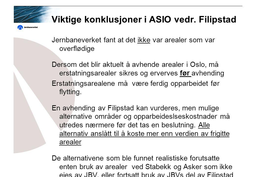 Togselskapenes vurdering Togselskapenes vurdering av Filipstad var (høring av ASIO);  Ved etablering av nytt dobbeltspor i vestkorridoren kan flere pendler kjøres lenger vestover.