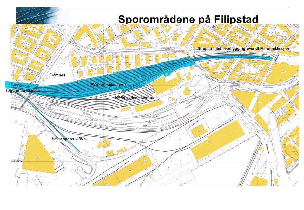 Sporområdene på Filipstad Strupen med overbygging over JBVs uttrekksspor JBVs driftsbanegård NSBs verkstedsområde Havnesporet JBVs Framnes Tog inn fra Skøyen