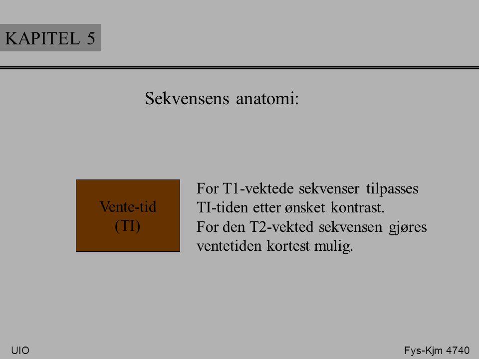 KAPITEL 5 Sekvensens anatomi: Ved bruk av en 180° inversjon puls vil det være mulig å redusere signalet fra en bestemt vevstype etter lignende metode
