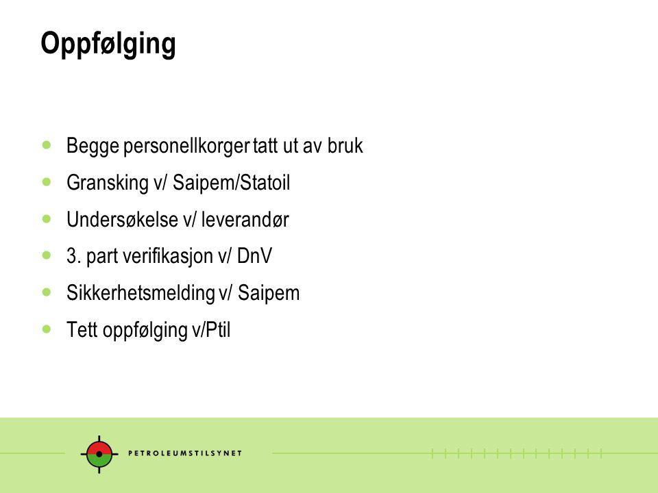 Oppfølging  Begge personellkorger tatt ut av bruk  Gransking v/ Saipem/Statoil  Undersøkelse v/ leverandør  3. part verifikasjon v/ DnV  Sikkerhe