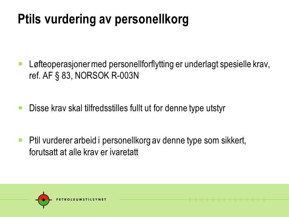 Ptils vurdering av personellkorg  Løfteoperasjoner med personellforflytting er underlagt spesielle krav, ref. AF § 83, NORSOK R-003N  Disse krav ska
