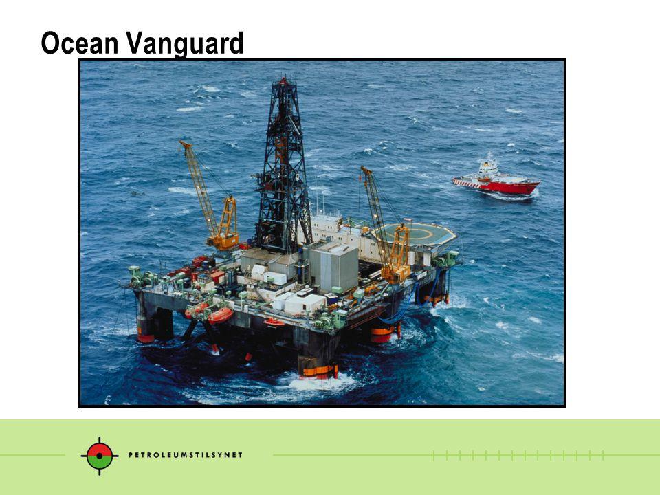 Ocean Vanguard status 14.12.2004 kl 2200  Reder:Diamond Drilling  Operatør:ENI  Lokasjon:Brønn 6406/1-3 Haltenbanken  Brønntype: Høyt trykk/Høy temperatur, avgrensning  Status brønn: Vanndyp 361 m 9 5/8 foringsrør satt på 4120 m 8 ½ hull boret til 4276 m Poretrykk grad.: 1,82 SG Slamvekt i åpent hull: 1,90 SG