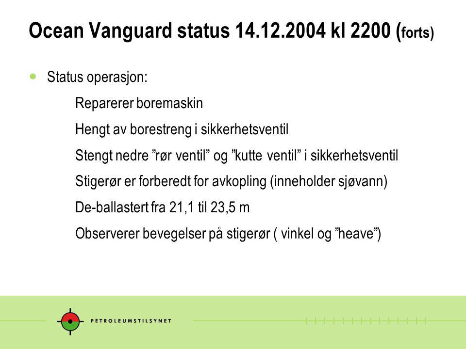 """Ocean Vanguard status 14.12.2004 kl 2200 ( forts)  Status operasjon: Reparerer boremaskin Hengt av borestreng i sikkerhetsventil Stengt nedre """"rør ve"""
