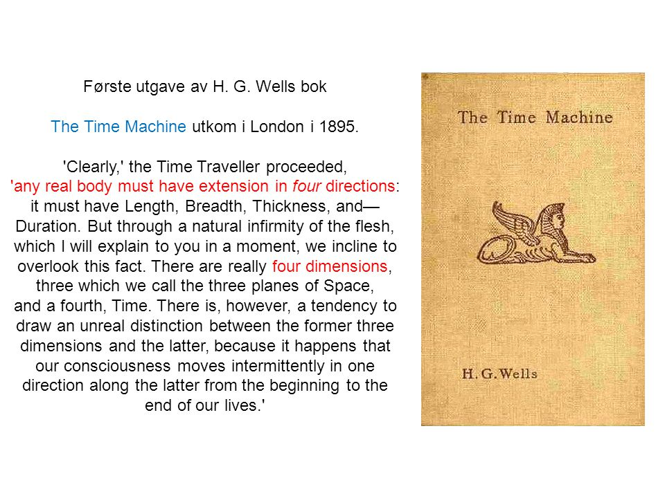 Første utgave av H.G. Wells bok The Time Machine utkom i London i 1895.