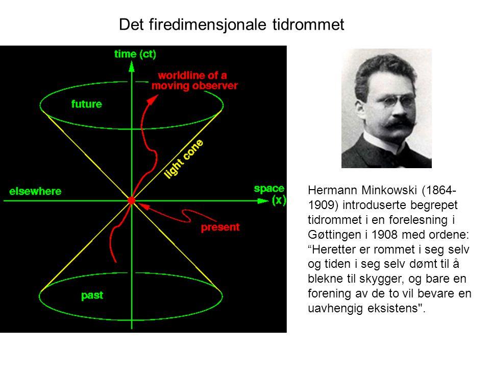 """Det firedimensjonale tidrommet Hermann Minkowski (1864- 1909) introduserte begrepet tidrommet i en forelesning i Gøttingen i 1908 med ordene: """"Herette"""