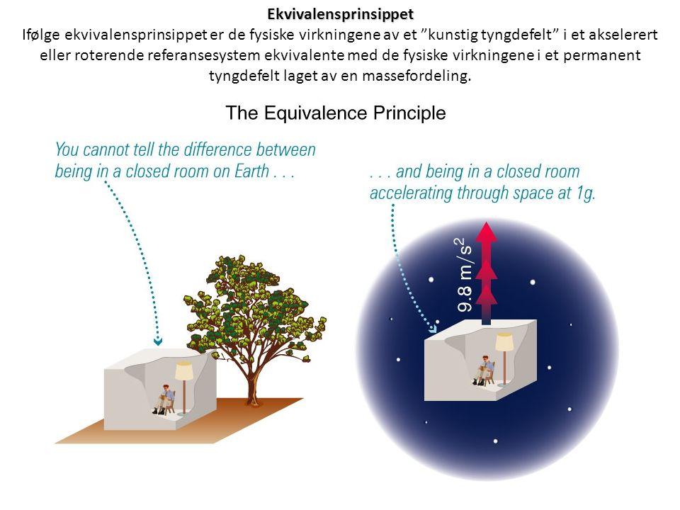 """Ekvivalensprinsippet Ifølge ekvivalensprinsippet er de fysiske virkningene av et """"kunstig tyngdefelt"""" i et akselerert eller roterende referansesystem"""