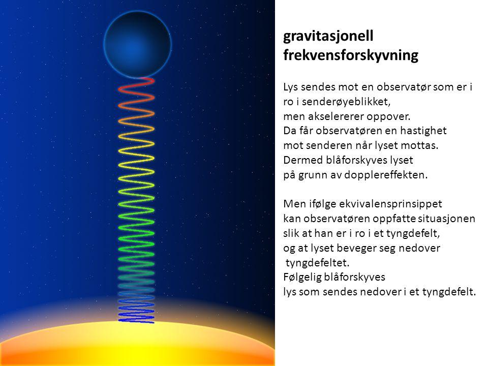 gravitasjonell frekvensforskyvning Lys sendes mot en observatør som er i ro i senderøyeblikket, men akselererer oppover. Da får observatøren en hastig