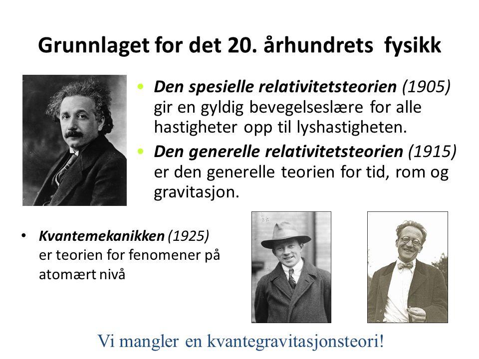 Grunnlaget for det 20. århundrets fysikk • Kvantemekanikken (1925) er teorien for fenomener på atomært nivå •Den spesielle relativitetsteorien (1905)