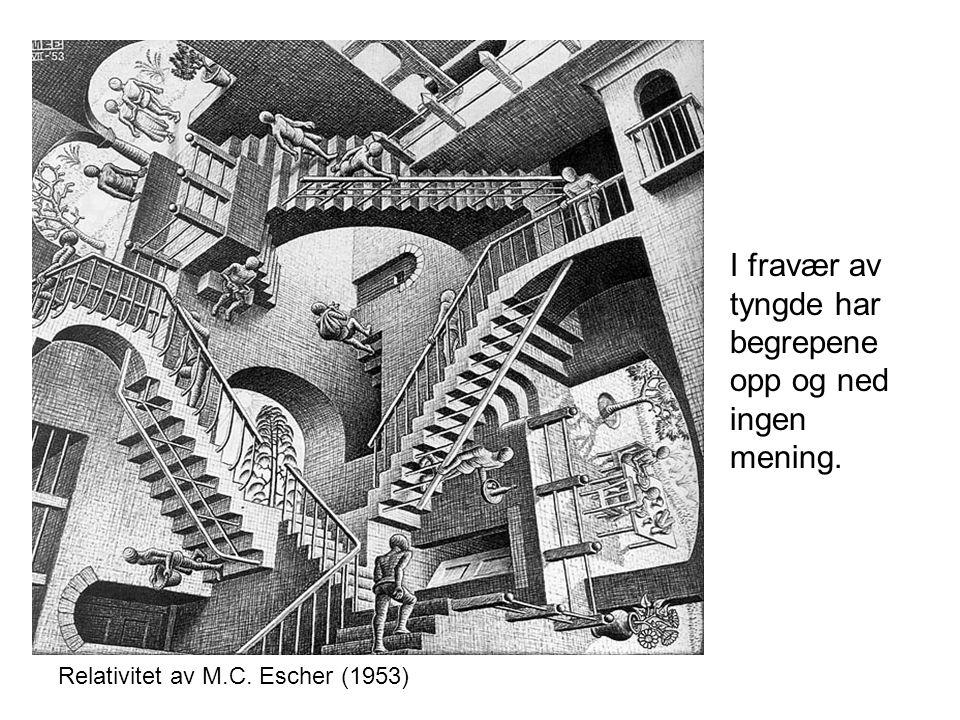 Relativitet av M.C. Escher (1953) I fravær av tyngde har begrepene opp og ned ingen mening.
