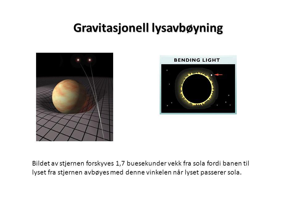 Gravitasjonell lysavbøyning Bildet av stjernen forskyves 1,7 buesekunder vekk fra sola fordi banen til lyset fra stjernen avbøyes med denne vinkelen n