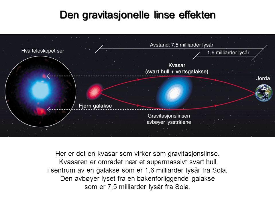 Den gravitasjonelle linse effekten Her er det en kvasar som virker som gravitasjonslinse. Kvasaren er området nær et supermassivt svart hull i sentrum