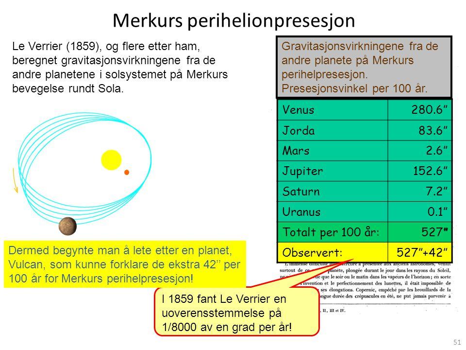 51 Merkurs perihelionpresesjon Le Verrier (1859), og flere etter ham, beregnet gravitasjonsvirkningene fra de andre planetene i solsystemet på Merkurs