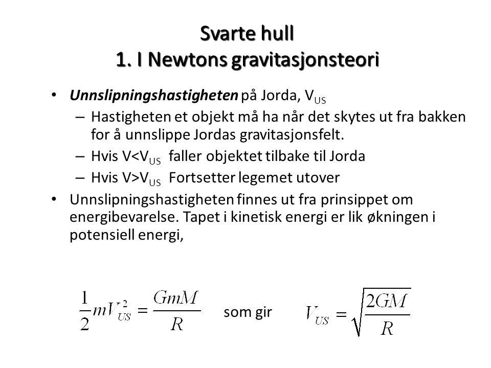 Svarte hull 1. I Newtons gravitasjonsteori • Unnslipningshastigheten på Jorda, V US – Hastigheten et objekt må ha når det skytes ut fra bakken for å u