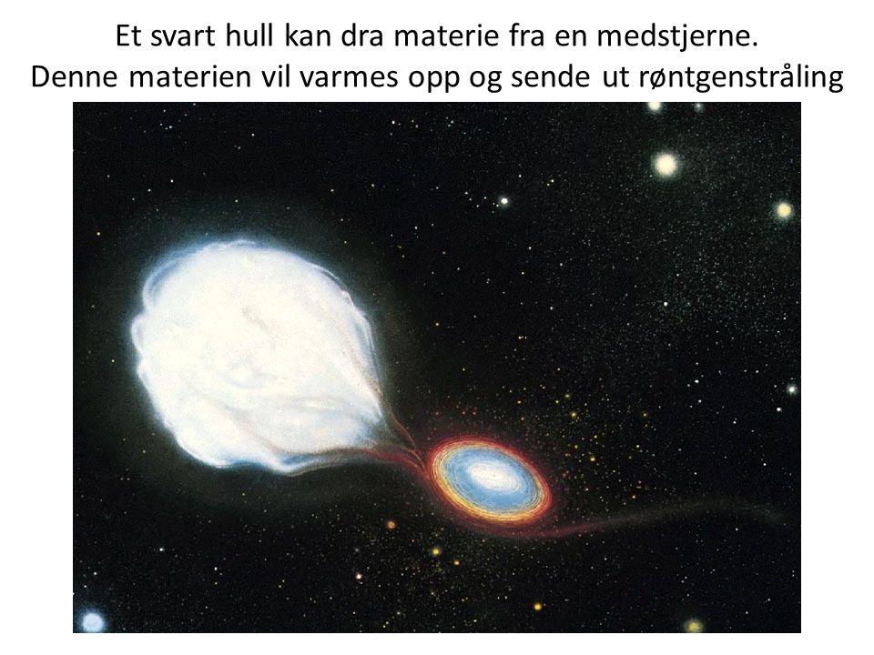 Et svart hull kan dra materie fra en medstjerne. Denne materien vil varmes opp og sende ut røntgenstråling