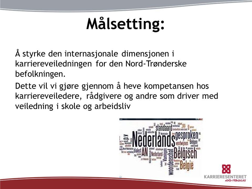 Målsetting: Å styrke den internasjonale dimensjonen i karriereveiledningen for den Nord-Trønderske befolkningen. Dette vil vi gjøre gjennom å heve kom