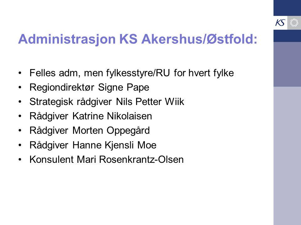 Administrasjon KS Akershus/Østfold: •Felles adm, men fylkesstyre/RU for hvert fylke •Regiondirektør Signe Pape •Strategisk rådgiver Nils Petter Wiik •