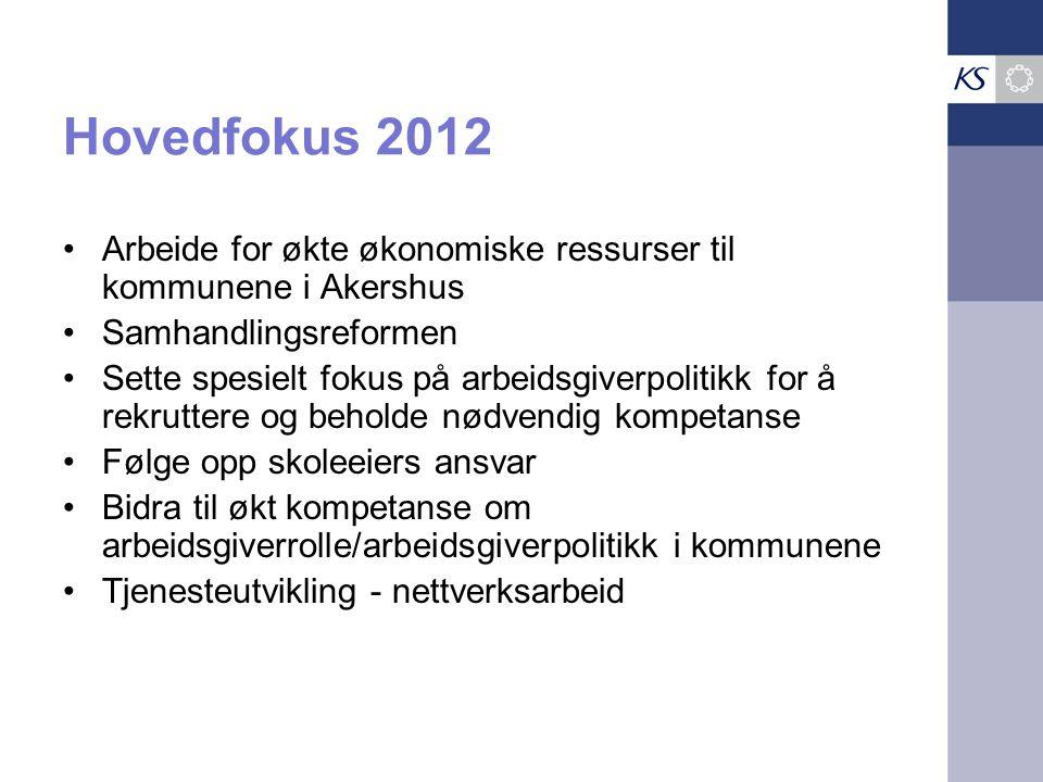 •Arbeide for økte økonomiske ressurser til kommunene i Akershus •Samhandlingsreformen •Sette spesielt fokus på arbeidsgiverpolitikk for å rekruttere o