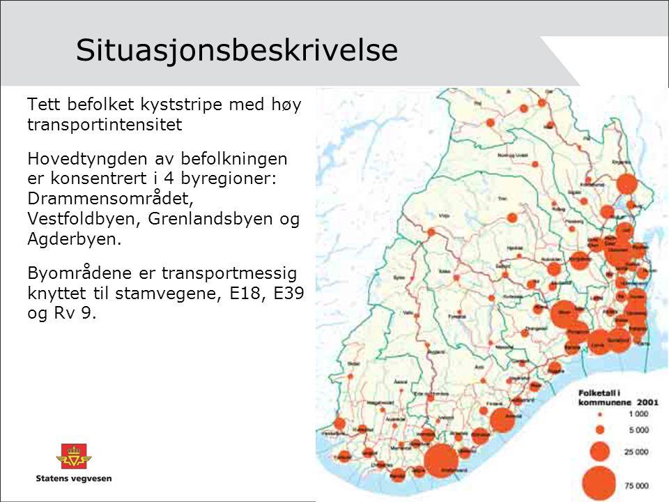 Situasjonsbeskrivelse Tett befolket kyststripe med høy transportintensitet Hovedtyngden av befolkningen er konsentrert i 4 byregioner: Drammensområdet, Vestfoldbyen, Grenlandsbyen og Agderbyen.