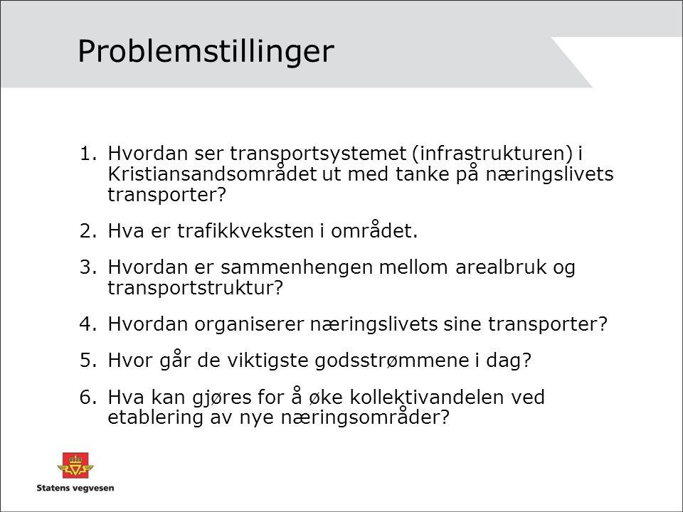 Problemstillinger 1.Hvordan ser transportsystemet (infrastrukturen) i Kristiansandsområdet ut med tanke på næringslivets transporter.