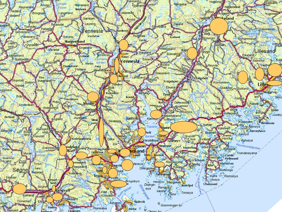 Anbefalte strategier Videreutvikle dagens havnestruktur med en godshavn Kristiansand Utvikling av terminaler med tilknytning til jernbane og stamvegnettet Hovedadkomsten til de sentrale godshavnene omklassifiseres og rustes opp som deler av stamvegnettet Godstransporttilbudet på Sørlandsbanen og terminalene i Kristiansand og bygges videre ut for transport av containere og semitrailerhengere