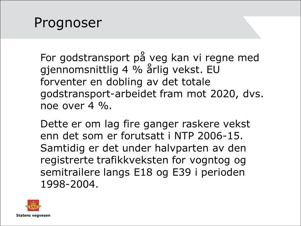 Siste trafikkutvikling •Totalvekst, Norge 2006: 1.7% •Totalvekst Sørlandet 2006: 2.4% •Vekst tungtrafikk Norge 2006 4.4% •Økning januar 2006 - januar 2007 •Totalvekst Norge: 3.6% •Totalvekst Sørlandet : 7.1% •Økning tungtrafikk Norge: 8.3%