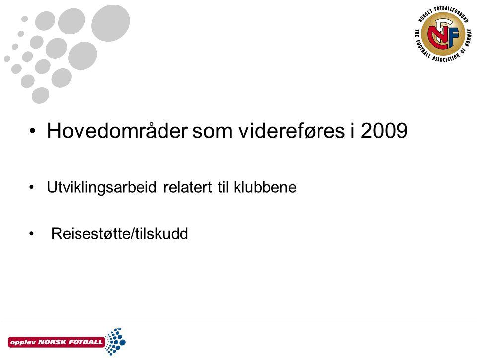 •Hovedområder som videreføres i 2009 •Utviklingsarbeid relatert til klubbene • Reisestøtte/tilskudd