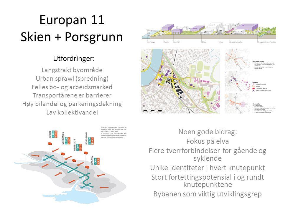 Europan 11 Skien + Porsgrunn Utfordringer: Langstrakt byområde Urban sprawl (spredning) Felles bo- og arbeidsmarked Transportårene er barrierer Høy bi