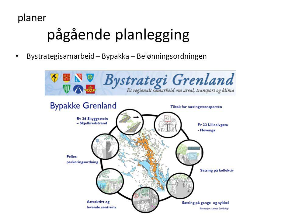 planer pågående planlegging • Bystrategisamarbeid – Bypakka – Belønningsordningen