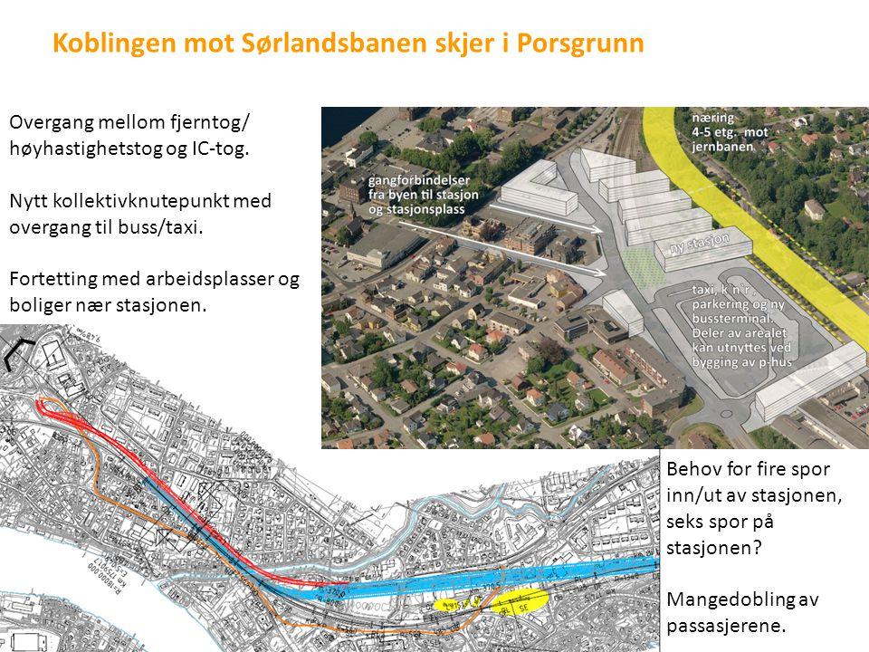 Koblingen mot Sørlandsbanen skjer i Porsgrunn Overgang mellom fjerntog/ høyhastighetstog og IC-tog. Nytt kollektivknutepunkt med overgang til buss/tax