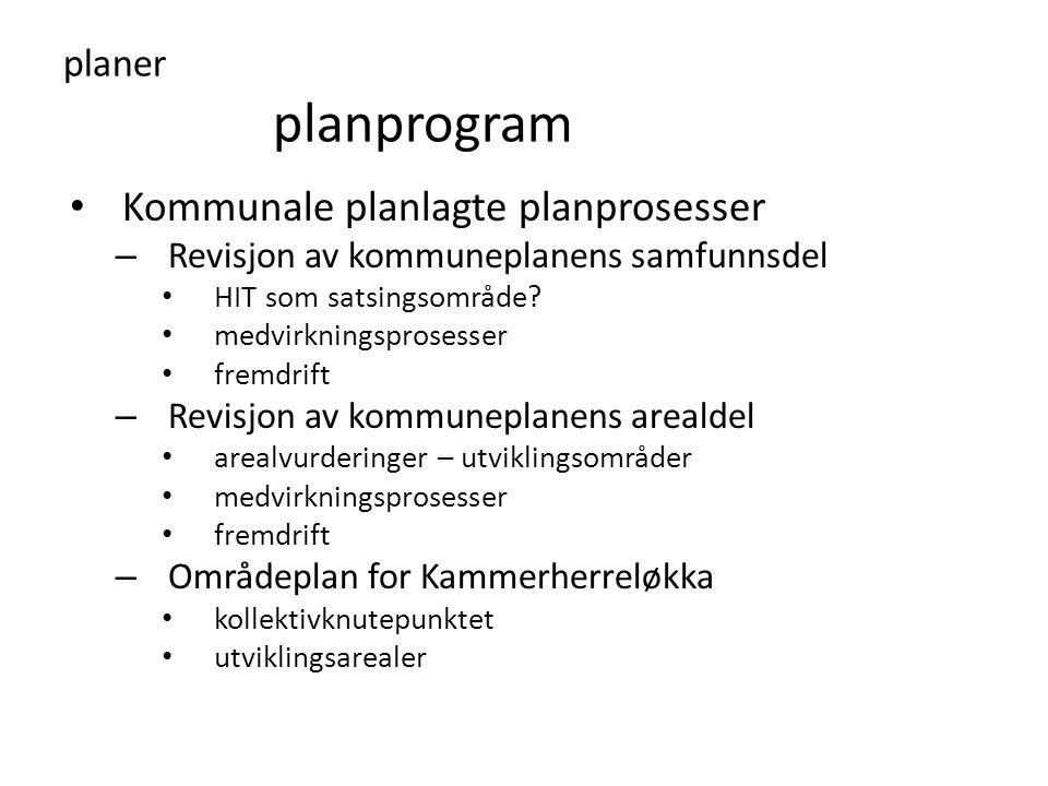 planer planprogram • Kommunale planlagte planprosesser – Revisjon av kommuneplanens samfunnsdel • HIT som satsingsområde? • medvirkningsprosesser • fr