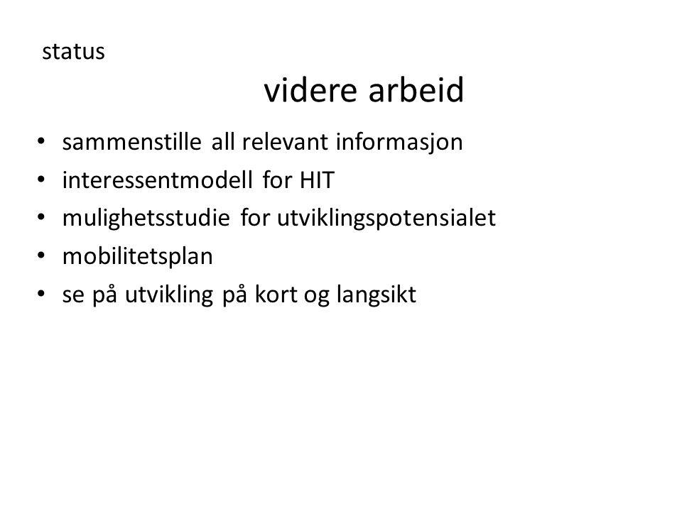 status videre arbeid • sammenstille all relevant informasjon • interessentmodell for HIT • mulighetsstudie for utviklingspotensialet • mobilitetsplan