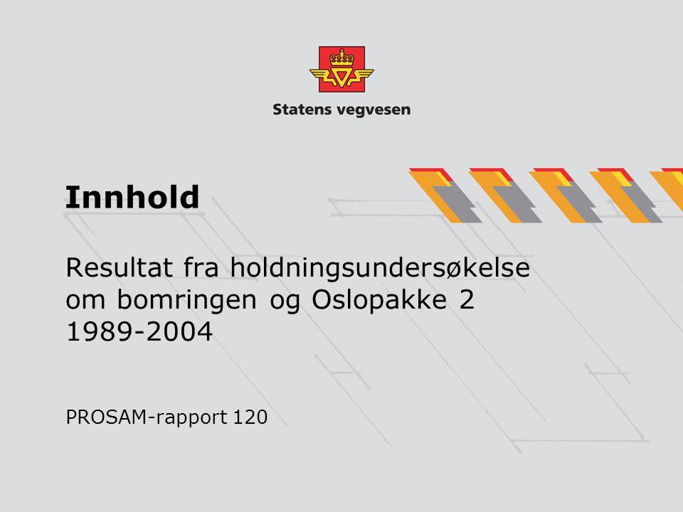 Innhold Resultat fra holdningsundersøkelse om bomringen og Oslopakke 2 1989-2004 PROSAM-rapport 120