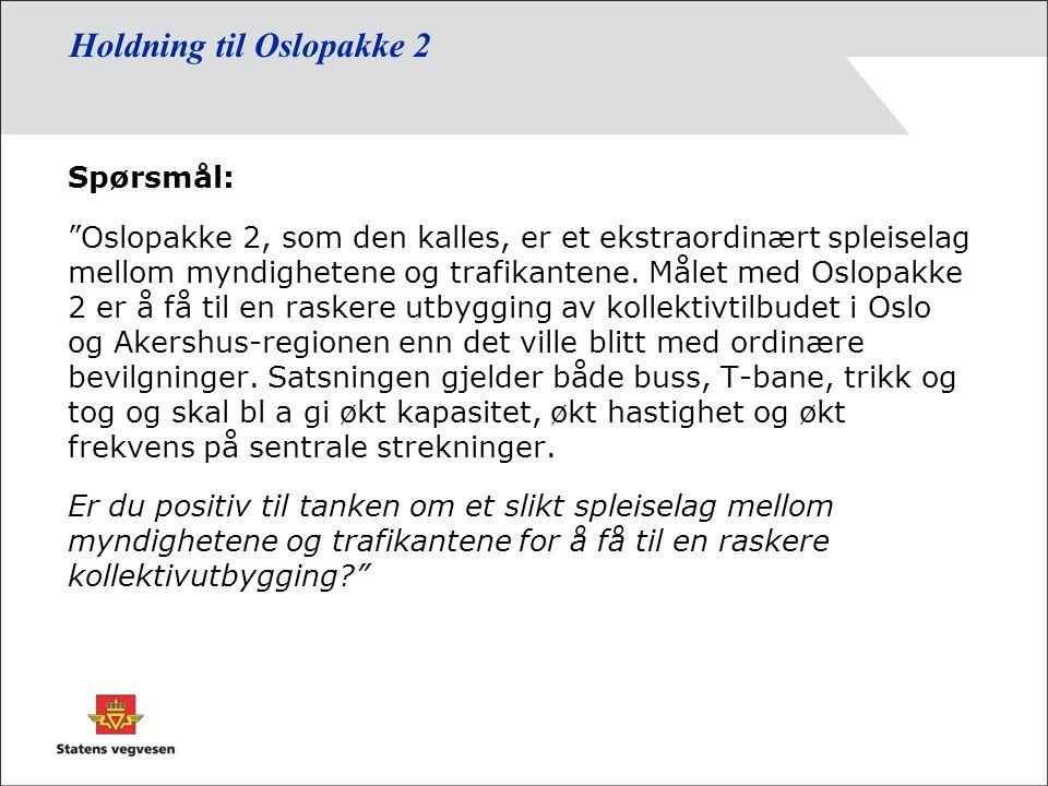 Holdning til Oslopakke 2 Spørsmål: Oslopakke 2, som den kalles, er et ekstraordinært spleiselag mellom myndighetene og trafikantene.