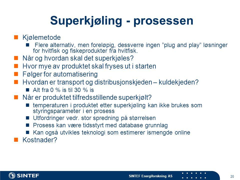 """SINTEF Energiforskning AS 20 Superkjøling - prosessen  Kjølemetode  Flere alternativ, men foreløpig, dessverre ingen """"plug and play"""" løsninger for h"""
