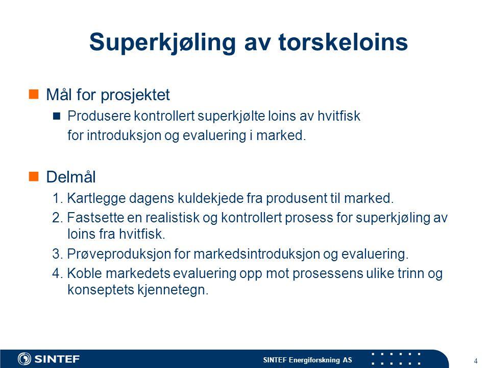 SINTEF Energiforskning AS 4 Superkjøling av torskeloins  Mål for prosjektet  Produsere kontrollert superkjølte loins av hvitfisk for introduksjon og